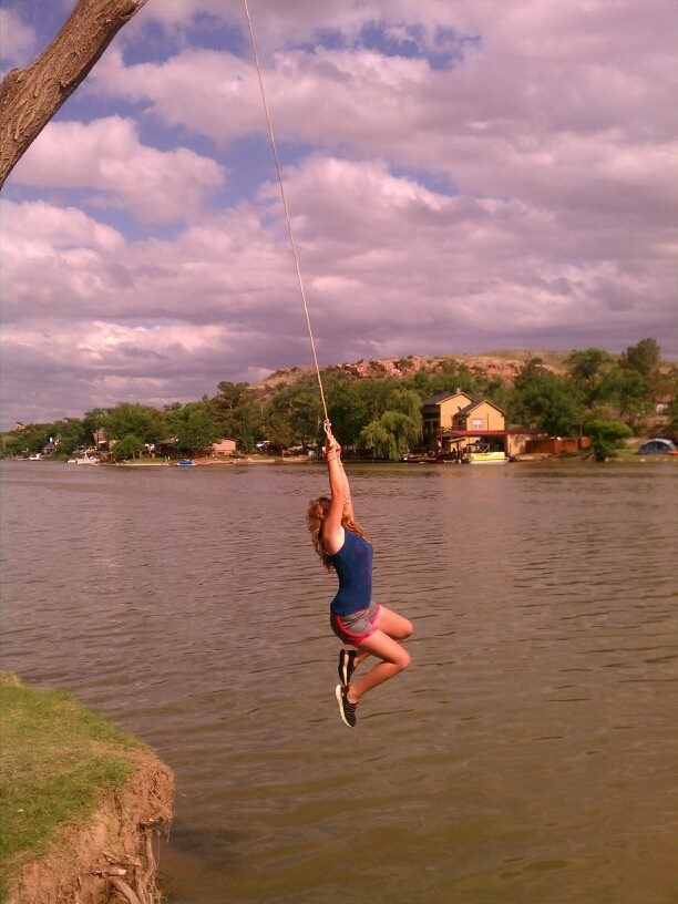 rope swing at Buffalo Springs Lake