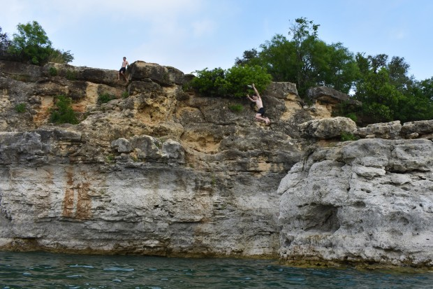Cliff Diving at Pace Bend Park near Austin