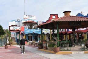 The Colorful Plaza Rincones de Mexico in Nuevo Progreso, in the state of Tamaulipas, Mexico
