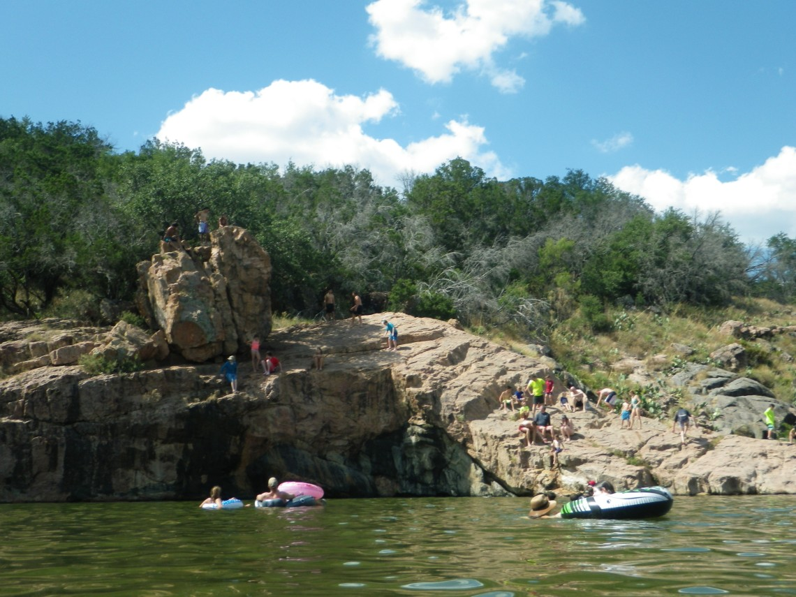 Cliff jumping at Inks Lake State Park in Burnet, TX.  RIMG0252.JPG